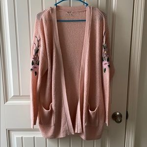 Lightweight knit embroidered cardigan sweater
